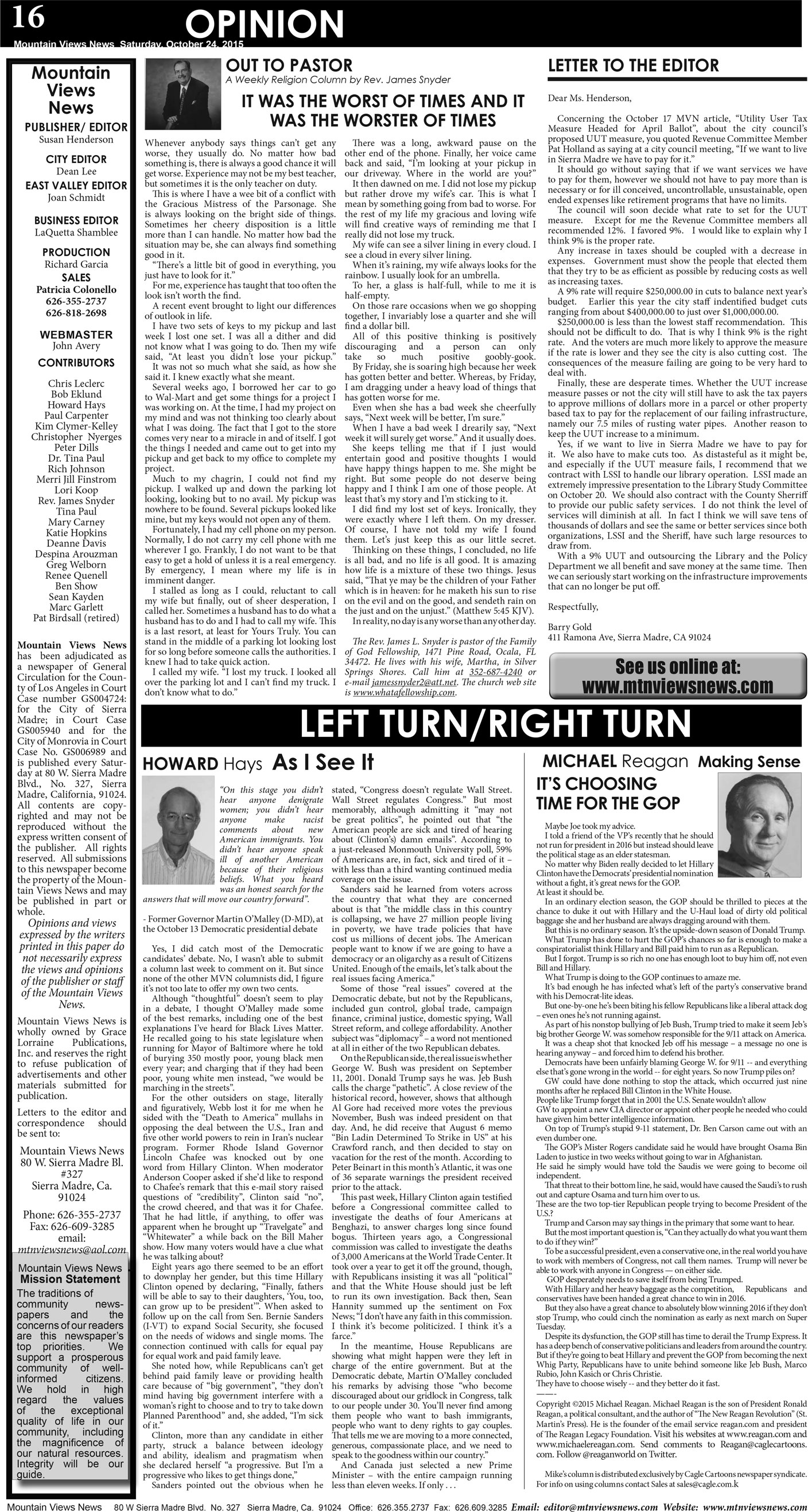 p16, v9 43 — Opinion … Left/Right — Mountain Views News
