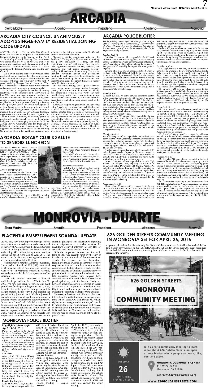 p7, v10 17 — Arcadia · Monrovia · Duarte — Mountain Views News