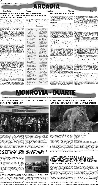 pA:6, v11 41 — Arcadia · Monrovia · Duarte — Mountain Views News