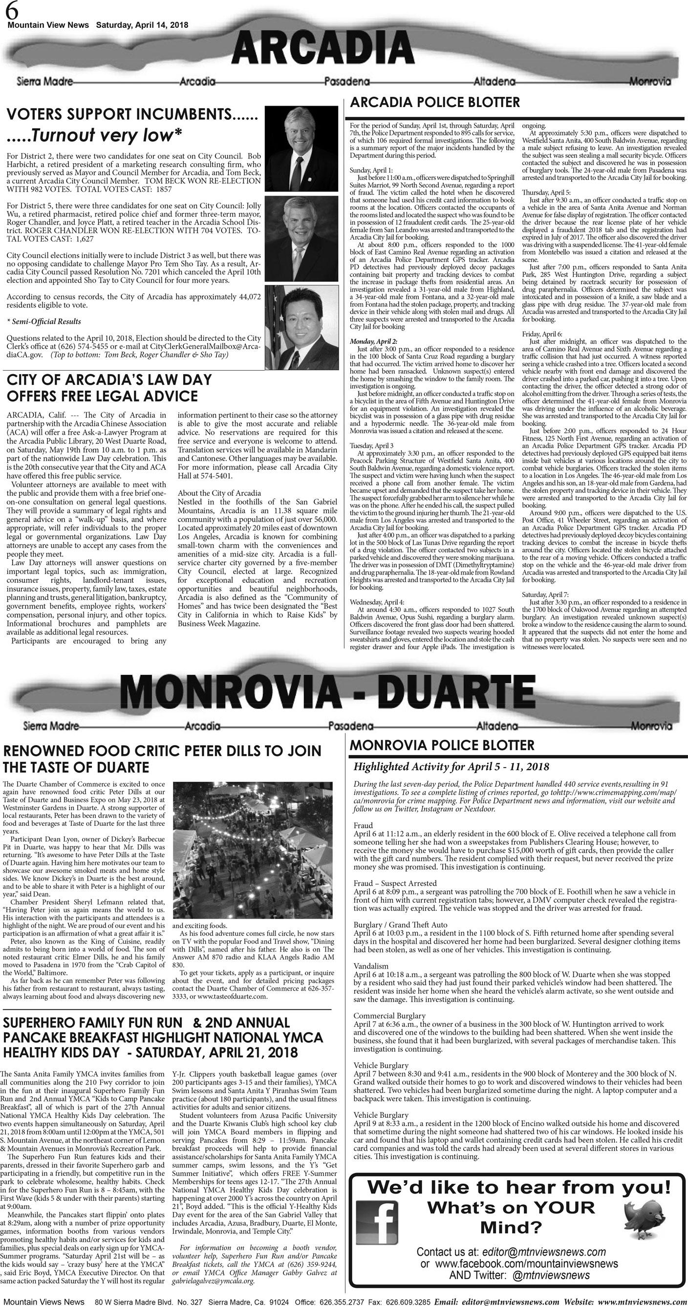 pA:6, v12 15 — Arcadia · Monrovia · Duarte — Mountain Views News