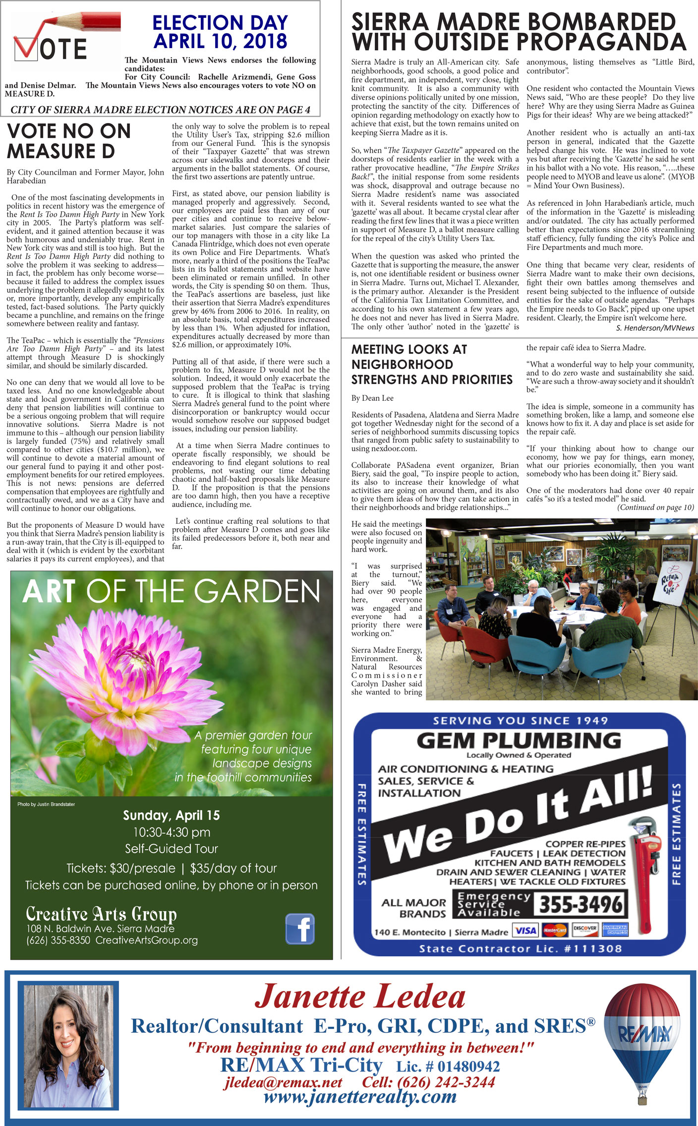 pA:1, v12.14 — Home Page — Mountain Views News, Sierra Madre edition