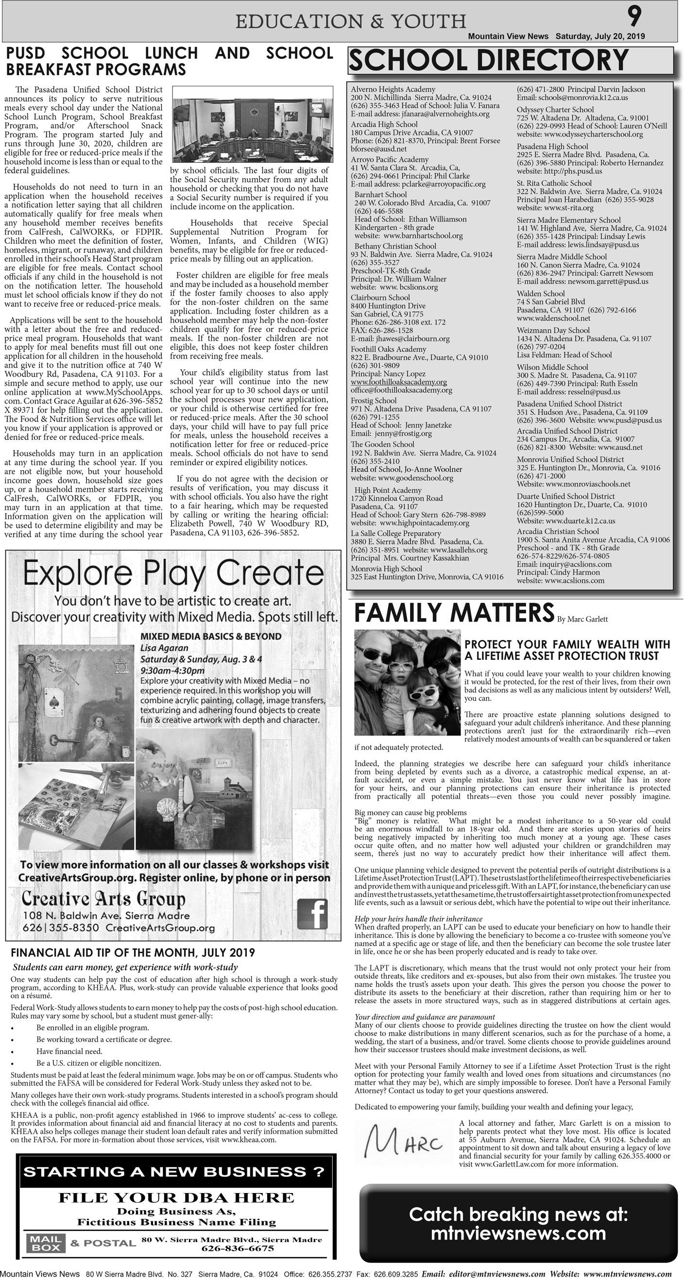 p9, v13 29 — Education & Youth — Mountain Views News